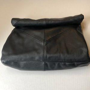 Zara Foldover Genuine Leather Patchwork Clutch.